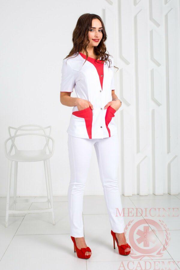 Медицинская блуза с красными деталями пф014красный