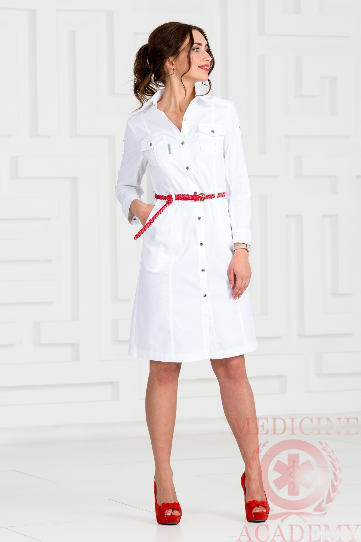 Медицинский халат. Сафари тепло-белое