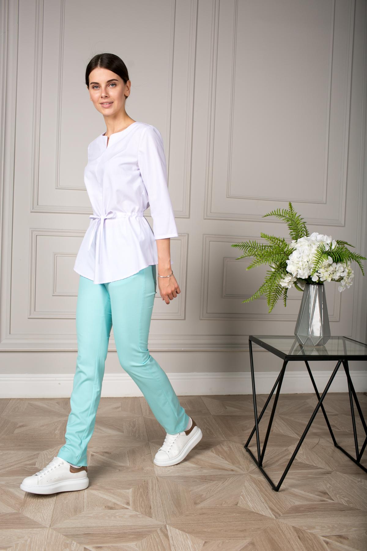 Блуза с баской белая пф028б
