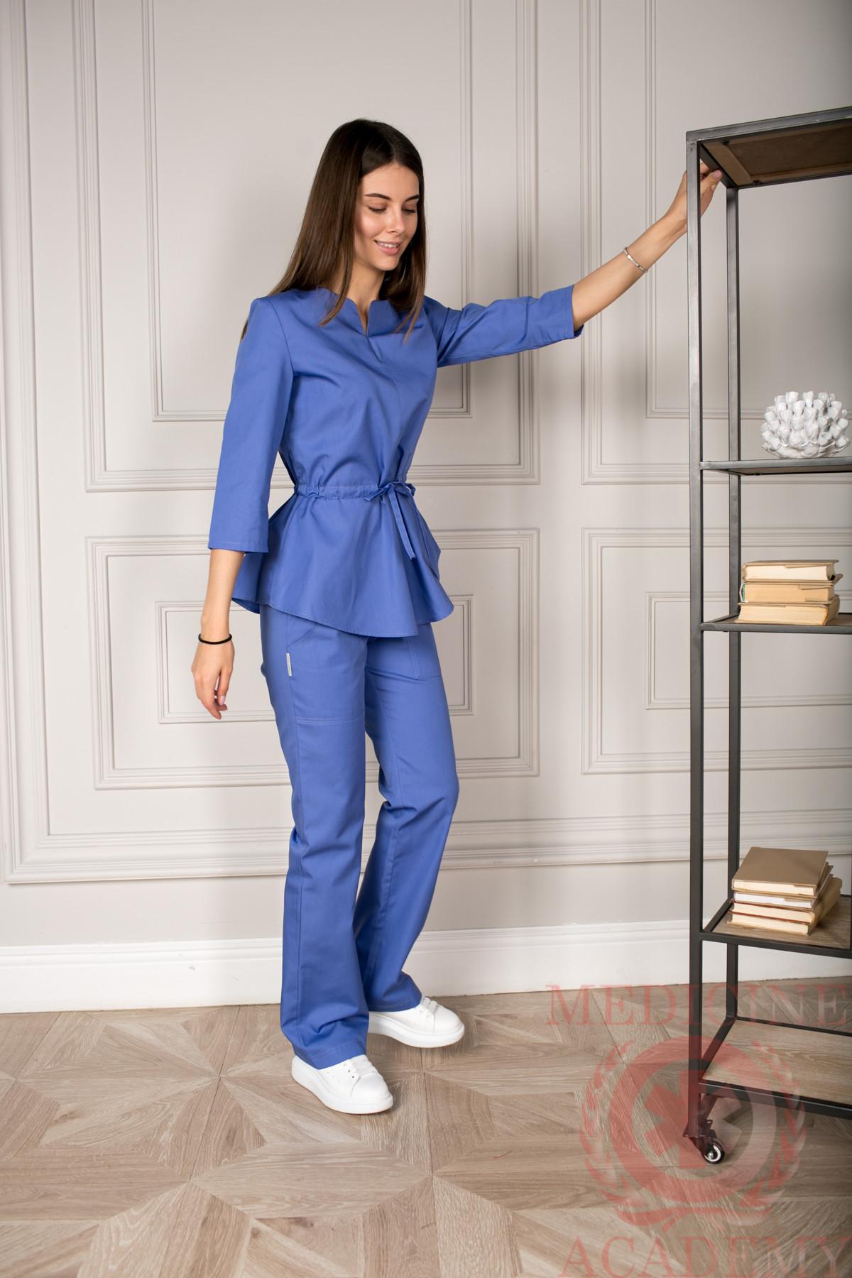 Блуза с баской фиолетовая пф028ф