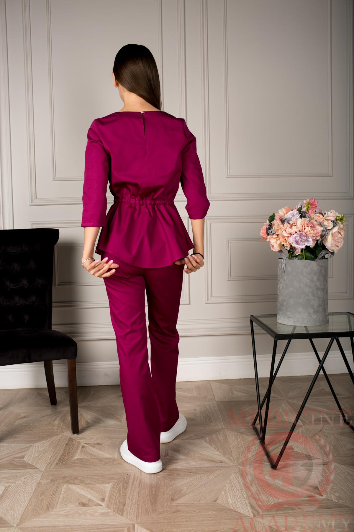 Блуза с баской ежевика пф028еж