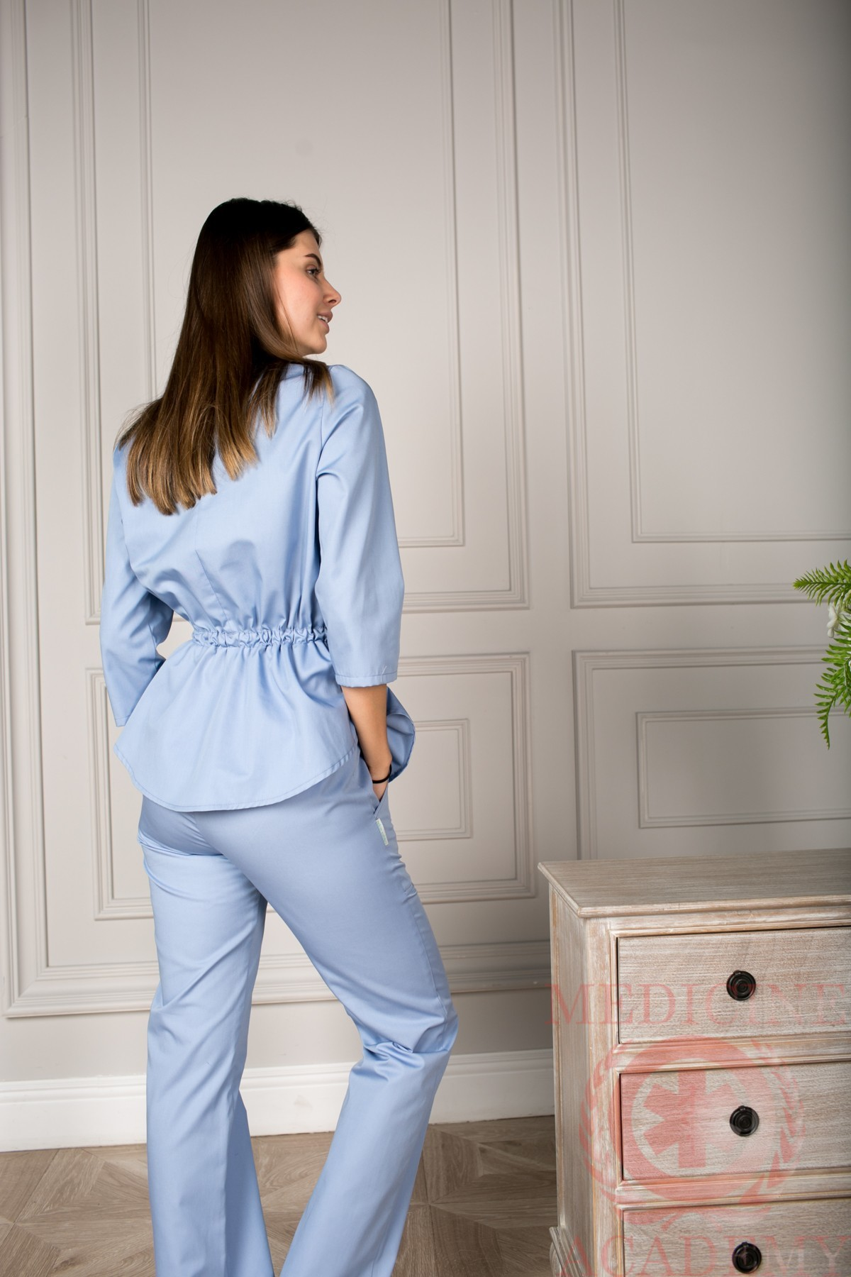 Блуза с баской серо-голубая пф028сг