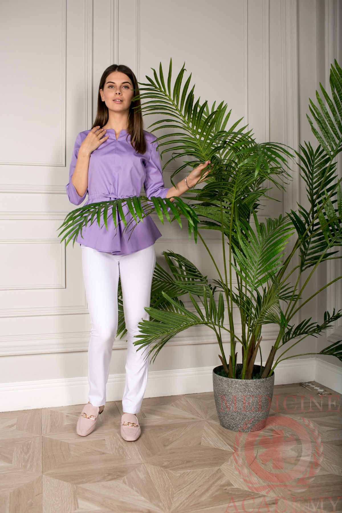 Блуза с баской сиреневая пф028си
