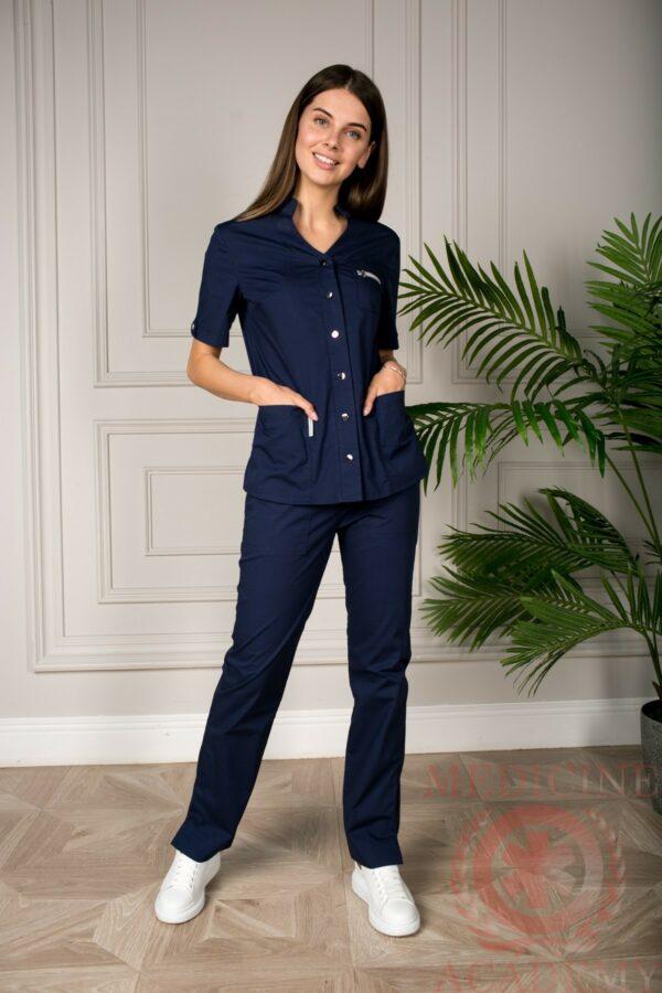 Блуза со стойкой синяя пф018к