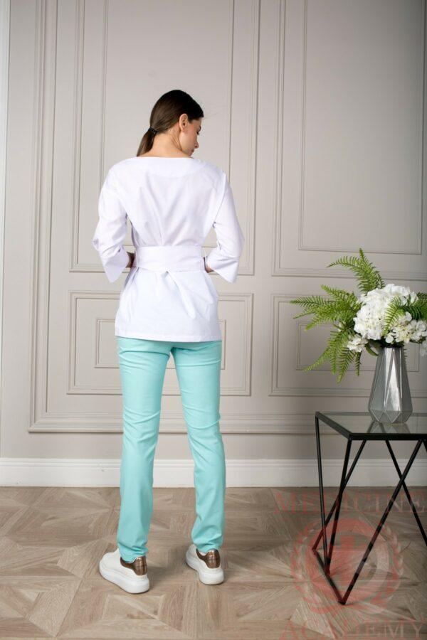 Блуза с широкими манжетами белая пф029бб
