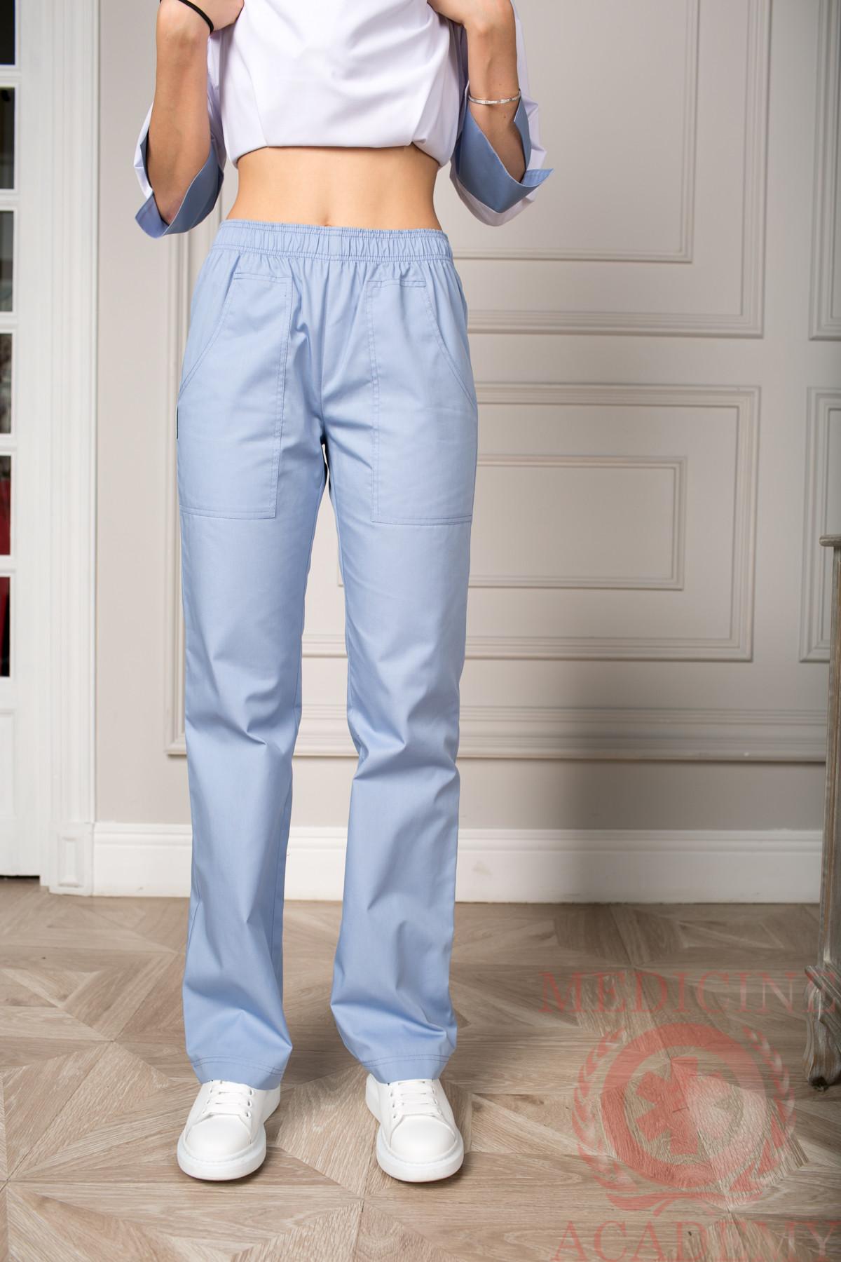 Брюки на резинке серо-голубые пф025сг