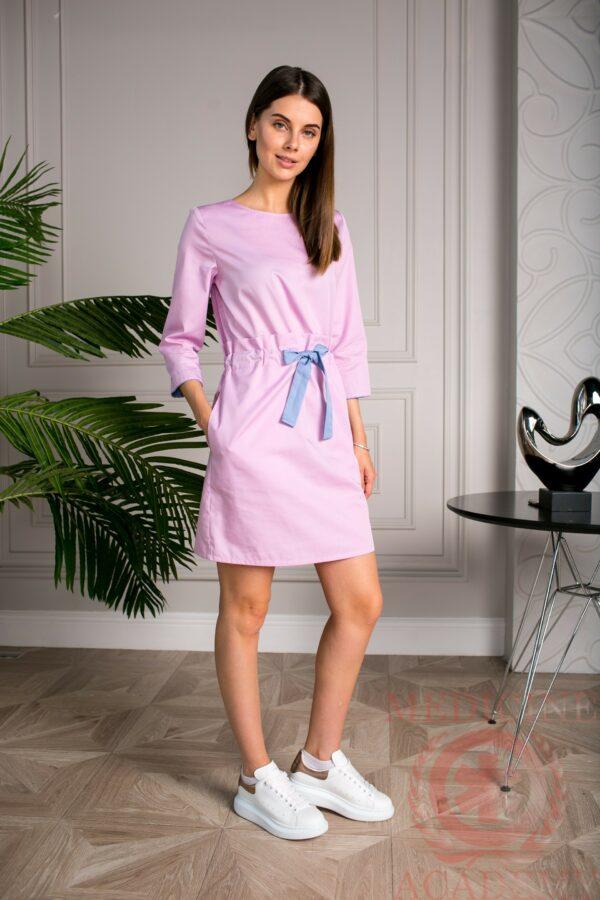 Медицинское платье пудровое