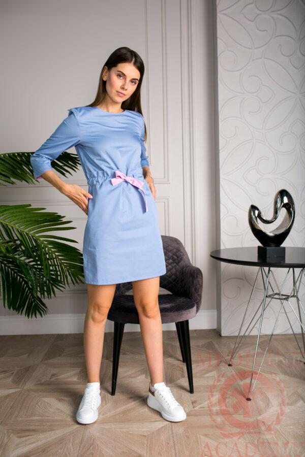 Медицинское платье серо-голубое