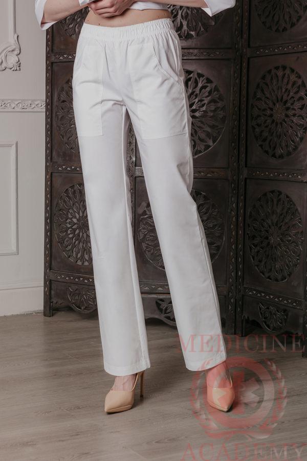 Медицинские брюки на резинке белые