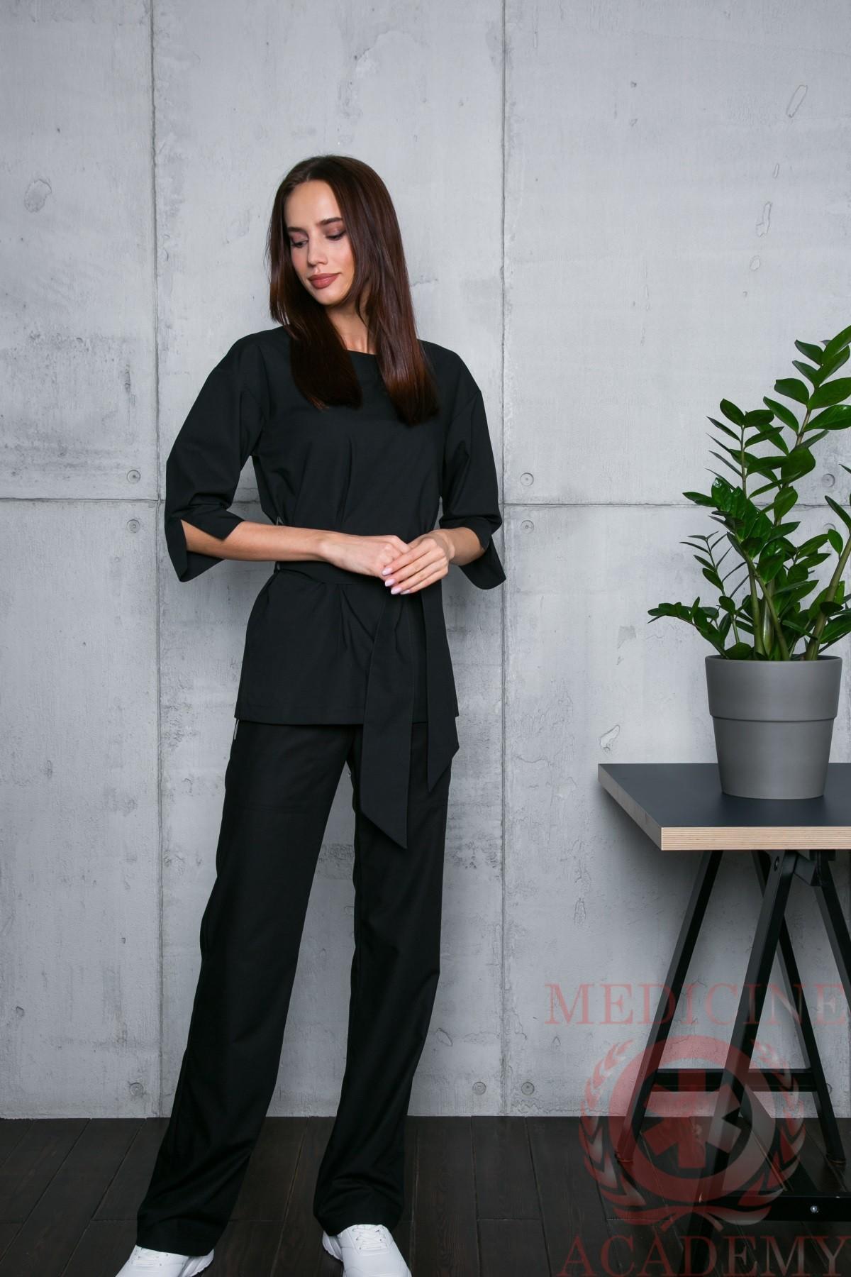 Блуза с широкими манжетами черная пф029ч 77ma.ru