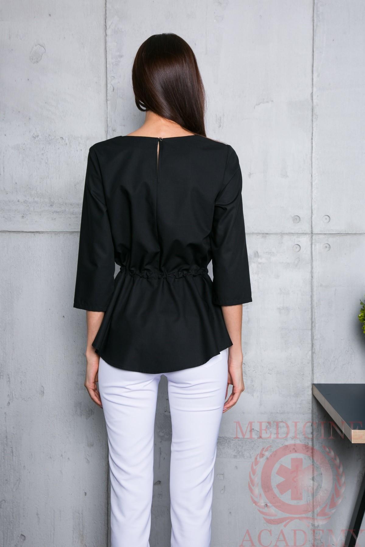 Блуза с баской черная пф028ч