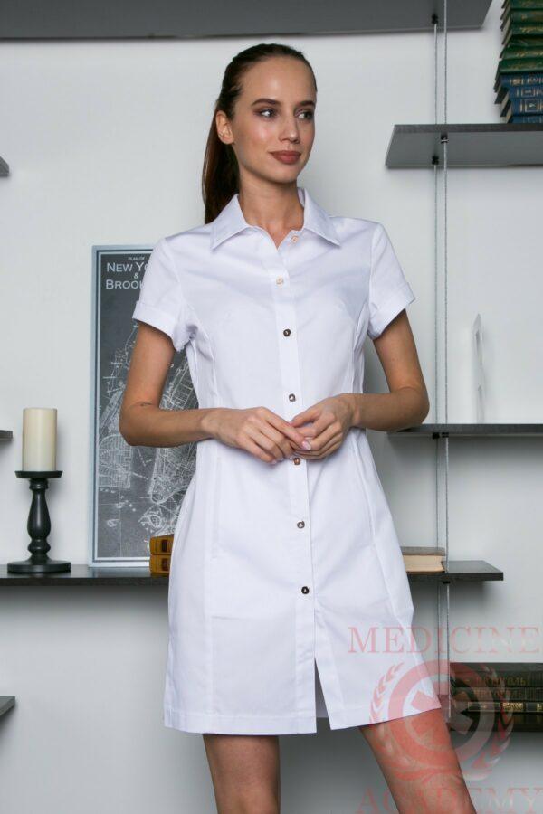 Медицинская рубашка-халат белая пф033б