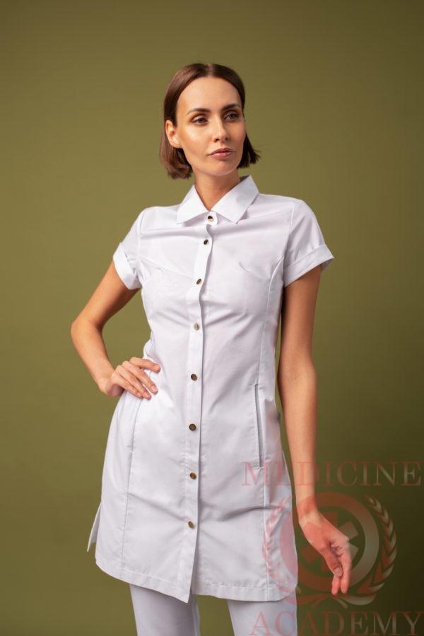 Рубашка-халат белая пф033б