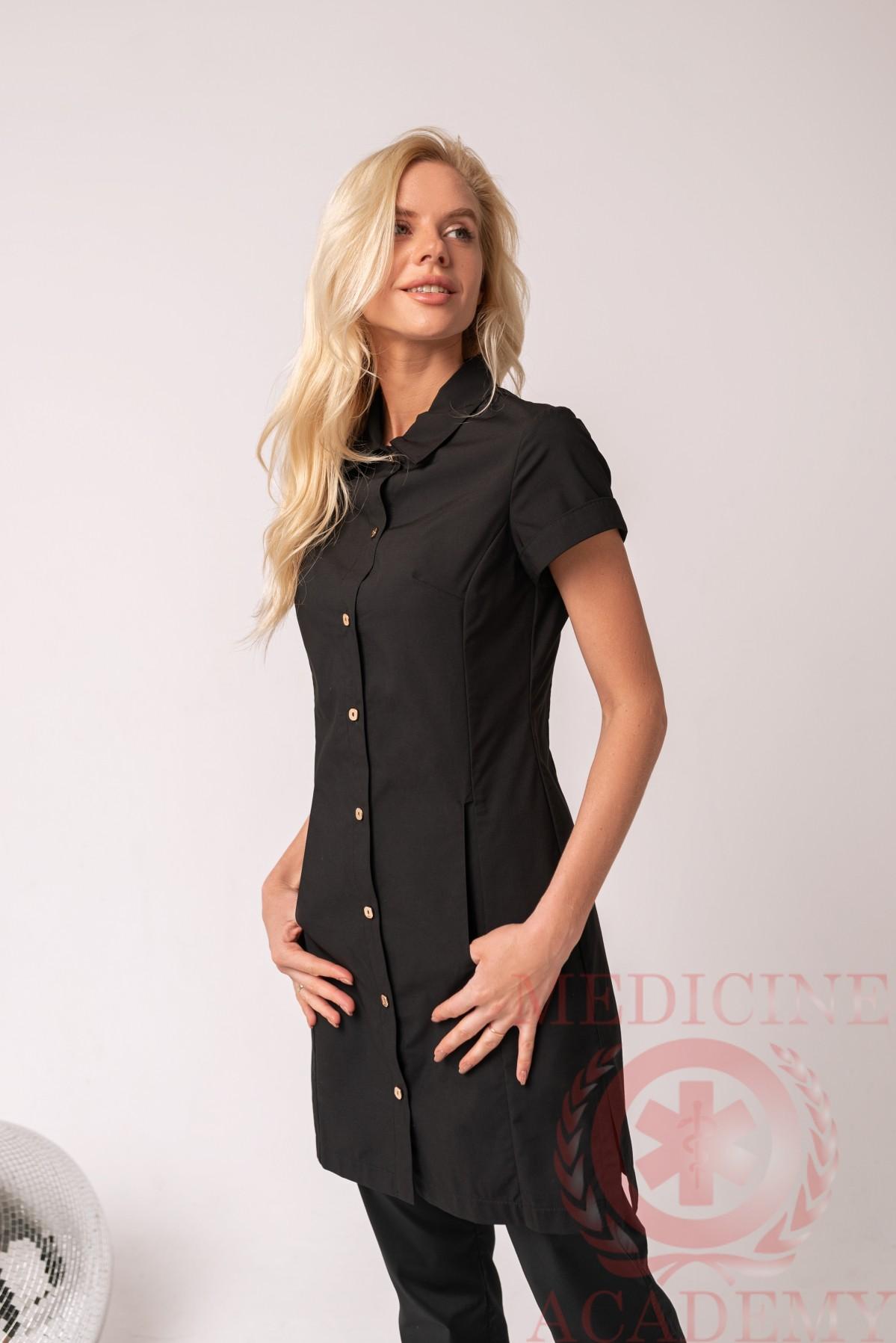 Рубашка-халат черная пф033ч