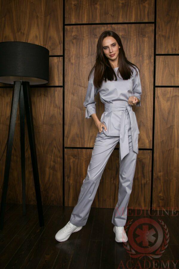 Блуза с широкими манжетами жемчужно-серая пф029с