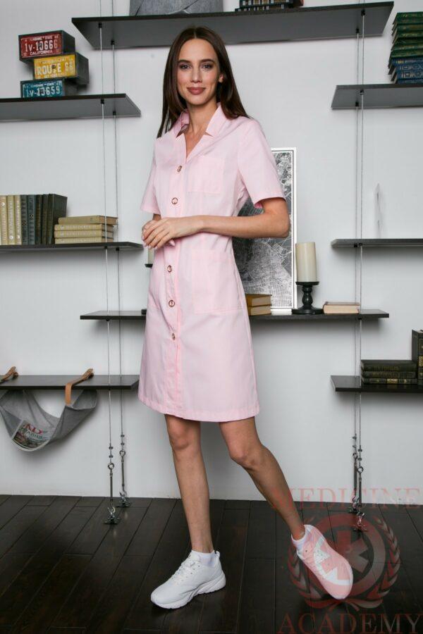 Изящный халат со сложным воротом розовый пф012р