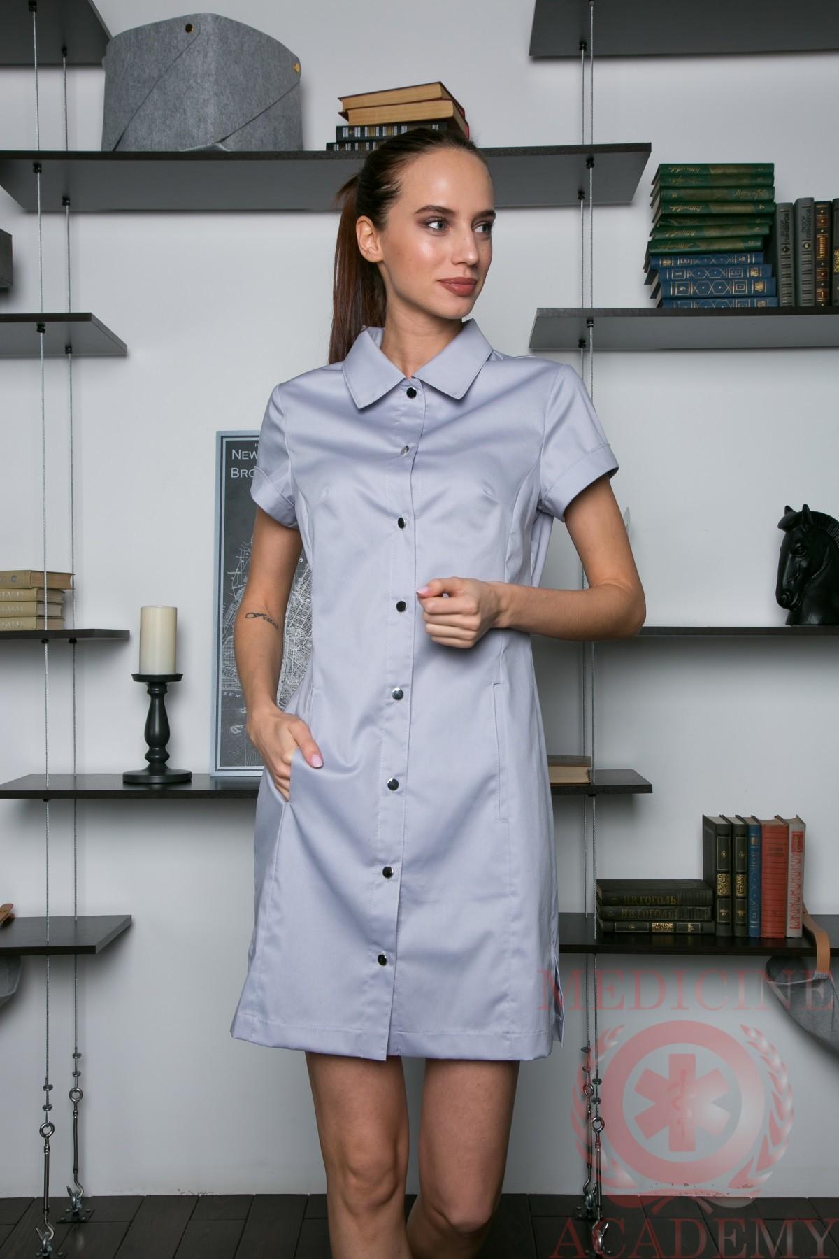 Рубашка-халат жемчужно-серая пф033с