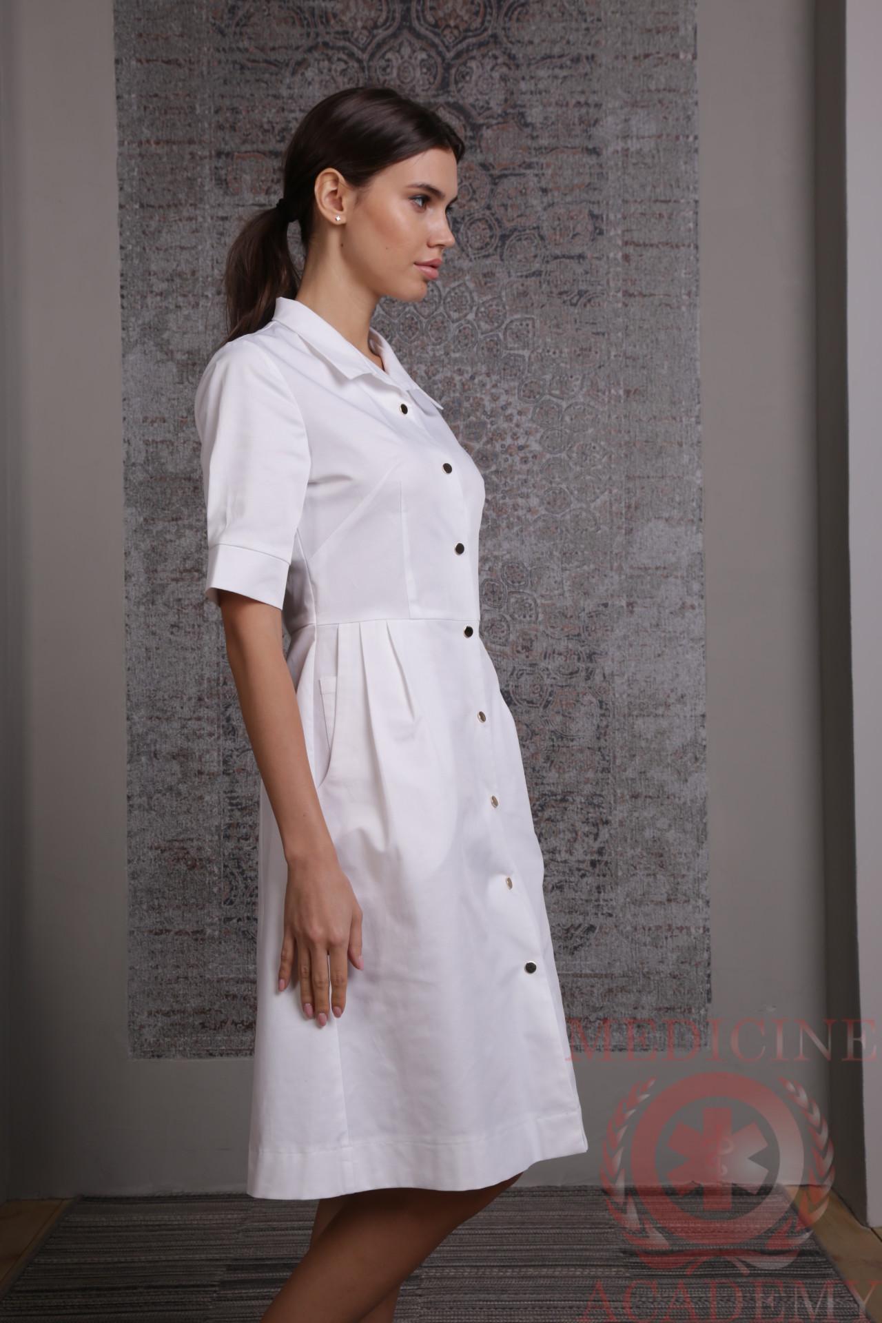 Белое платье «Диор» на кнопках
