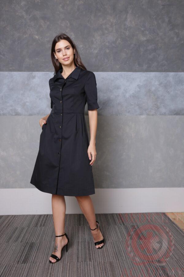 Черное платье «Диор» на кнопках пф035чк 77ma.ru