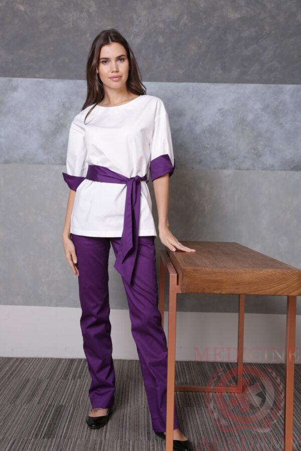 Блуза белая с лиловыми манжетами пф029бл 77ma.ru