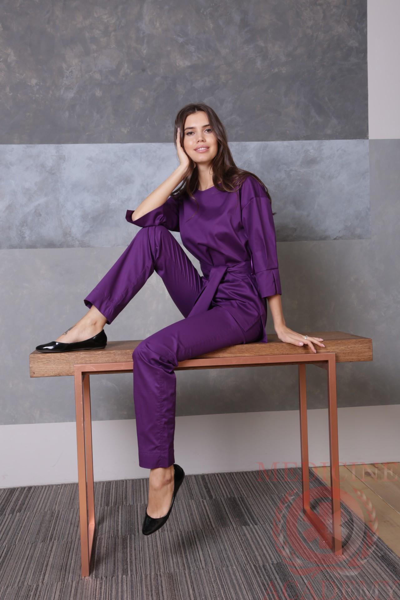 Блуза с широкими манжетами лиловая пф029л 77ma.ru