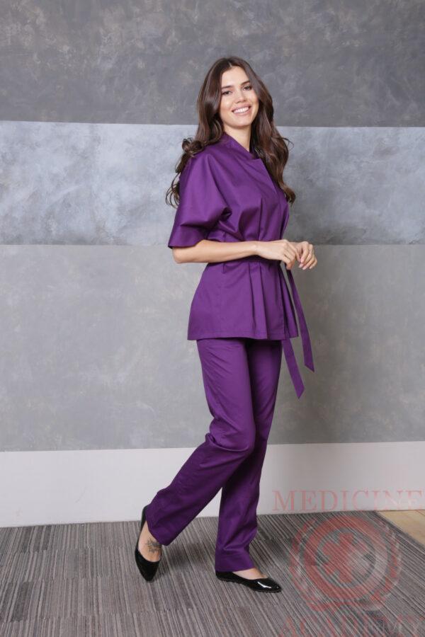 Медицинская блуза с цельнокроенным рукавом лиловая пф038Л 77ma.ru
