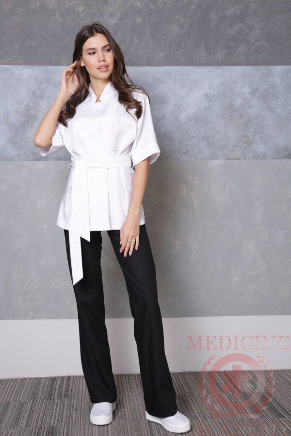 Медицинская блуза с цельнокроенным рукавом белая пф038б 77ma.ru Medicine-Academy