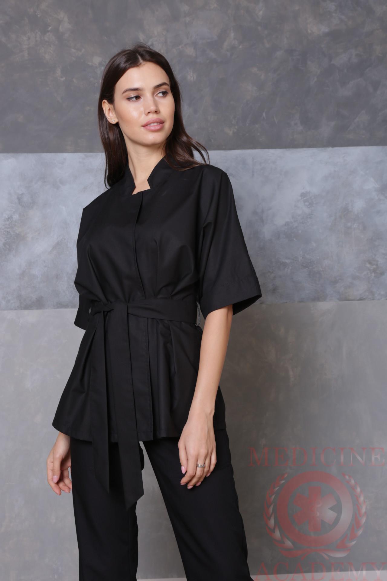 Медицинская блуза с цельнокроенным рукавом черная пф038ч 77ma.ru Medicine-Academy