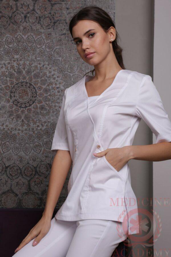 Блуза с тремя золотыми пуговицами белая пф022б 77ma.ru