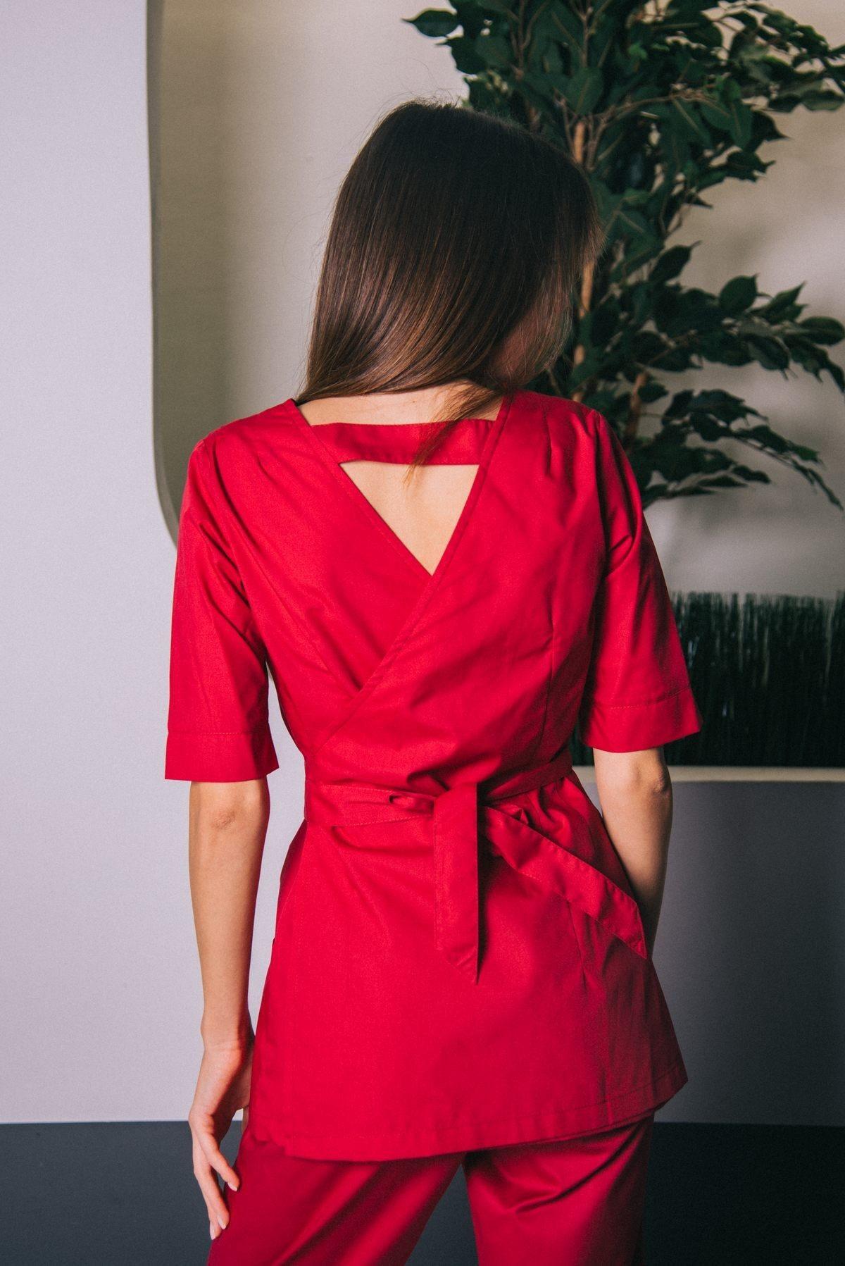 Блуза с запахом сзади бургунди пф021у 77ma.ru