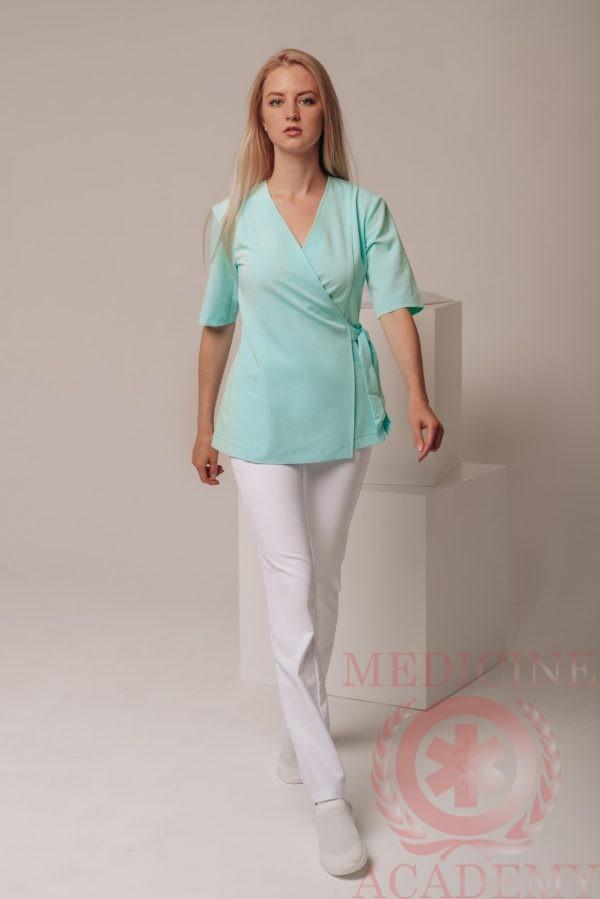 Бирюзовая блуза с запАхом