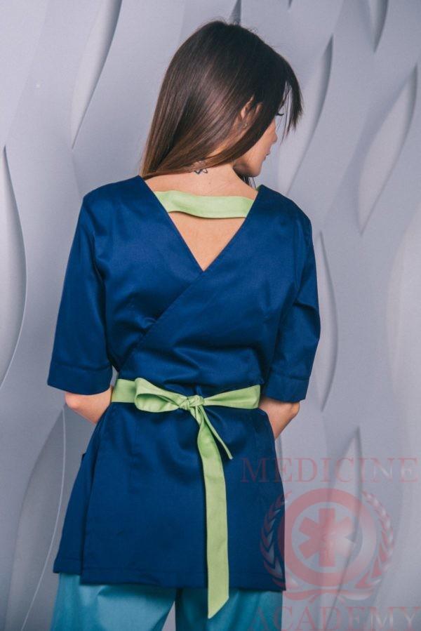 Блуза с запахом сзади сине-салатовая пф021сн 77ma.ru