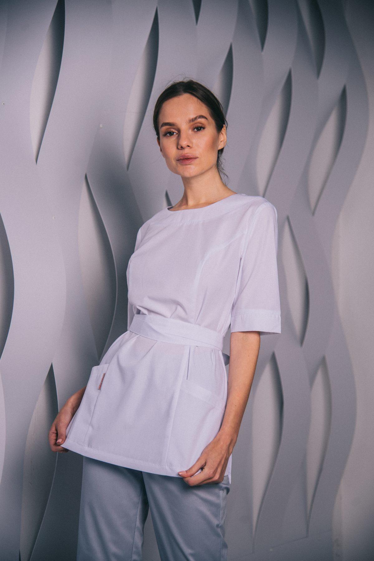 Белая блуза с запахом сзади пф021бб 77ma.ru