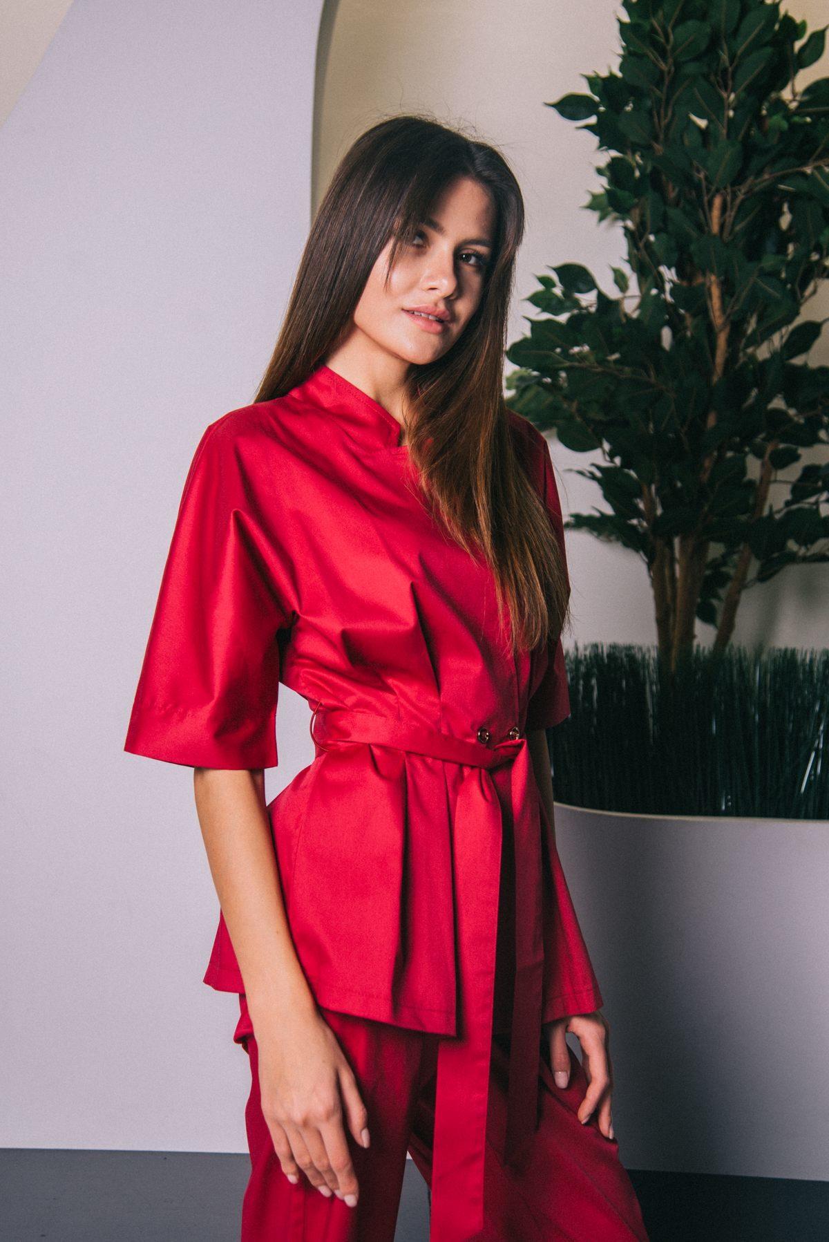 Блуза с цельнокроенным рукавом бургунди пф038у 77ma.ru