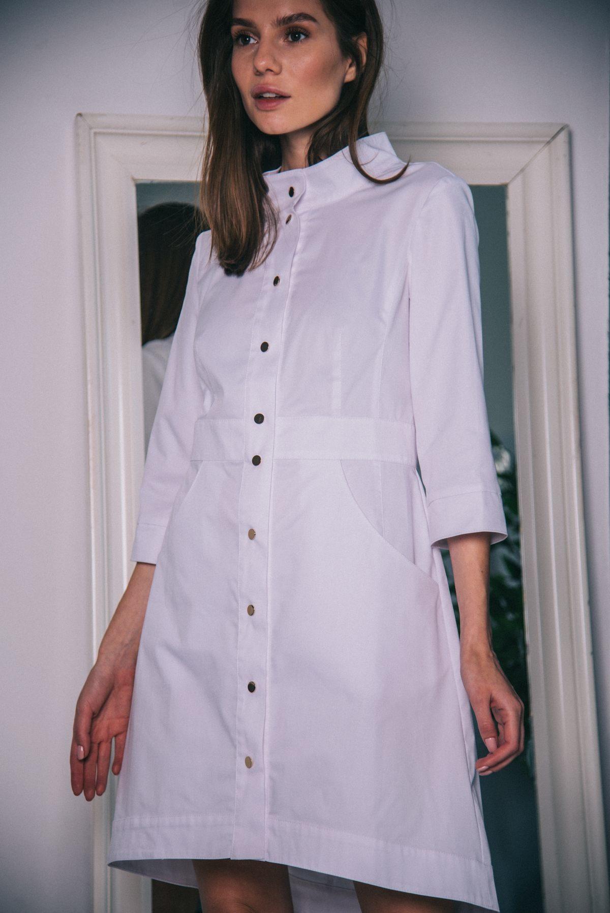 Медицинский халат с фигурным низом ПФ103б