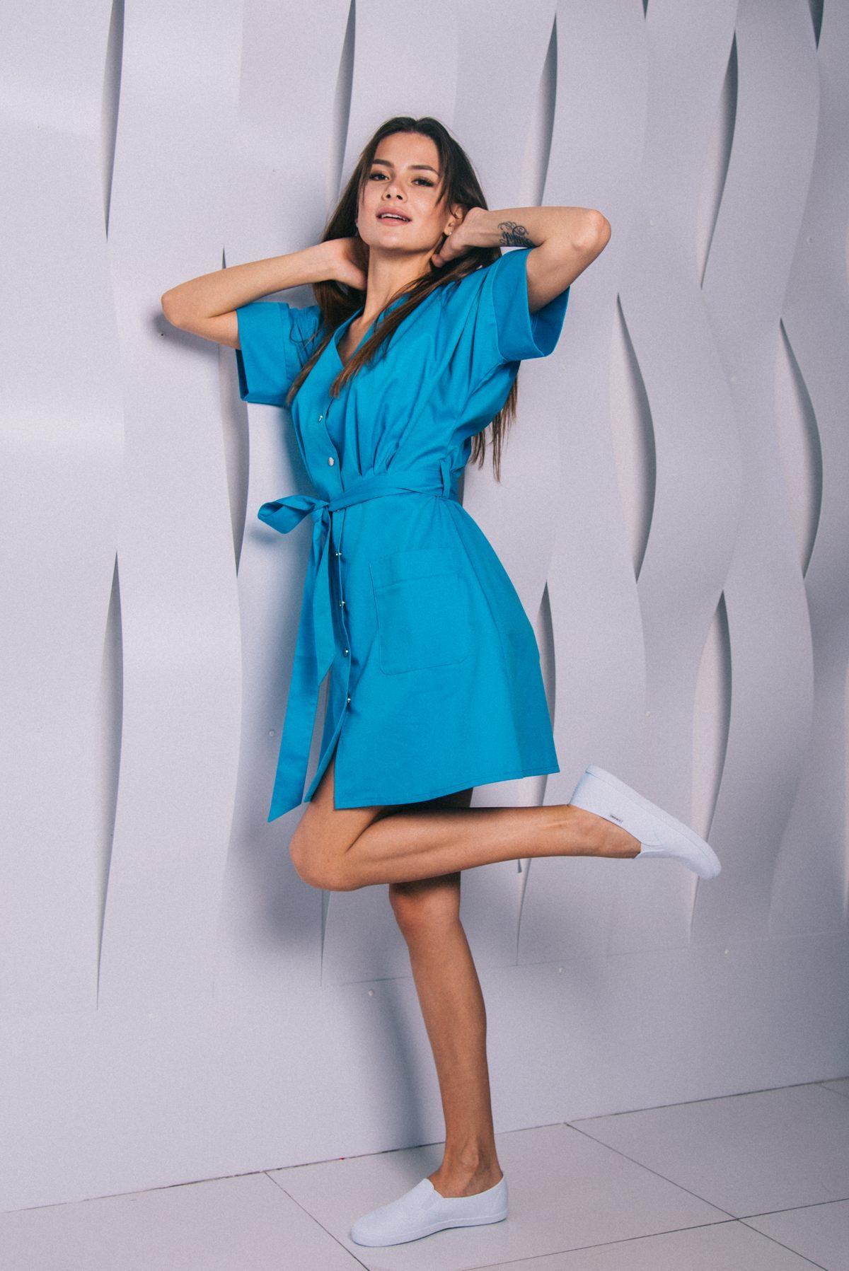 Халат с резинкой на спине голубой пф111г 77ma.ru