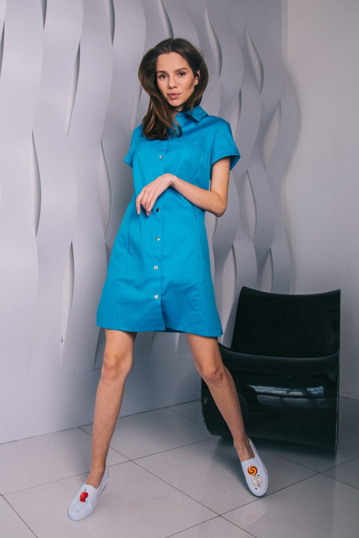 Голубая платье-рубашка пф033г 77ma.ru
