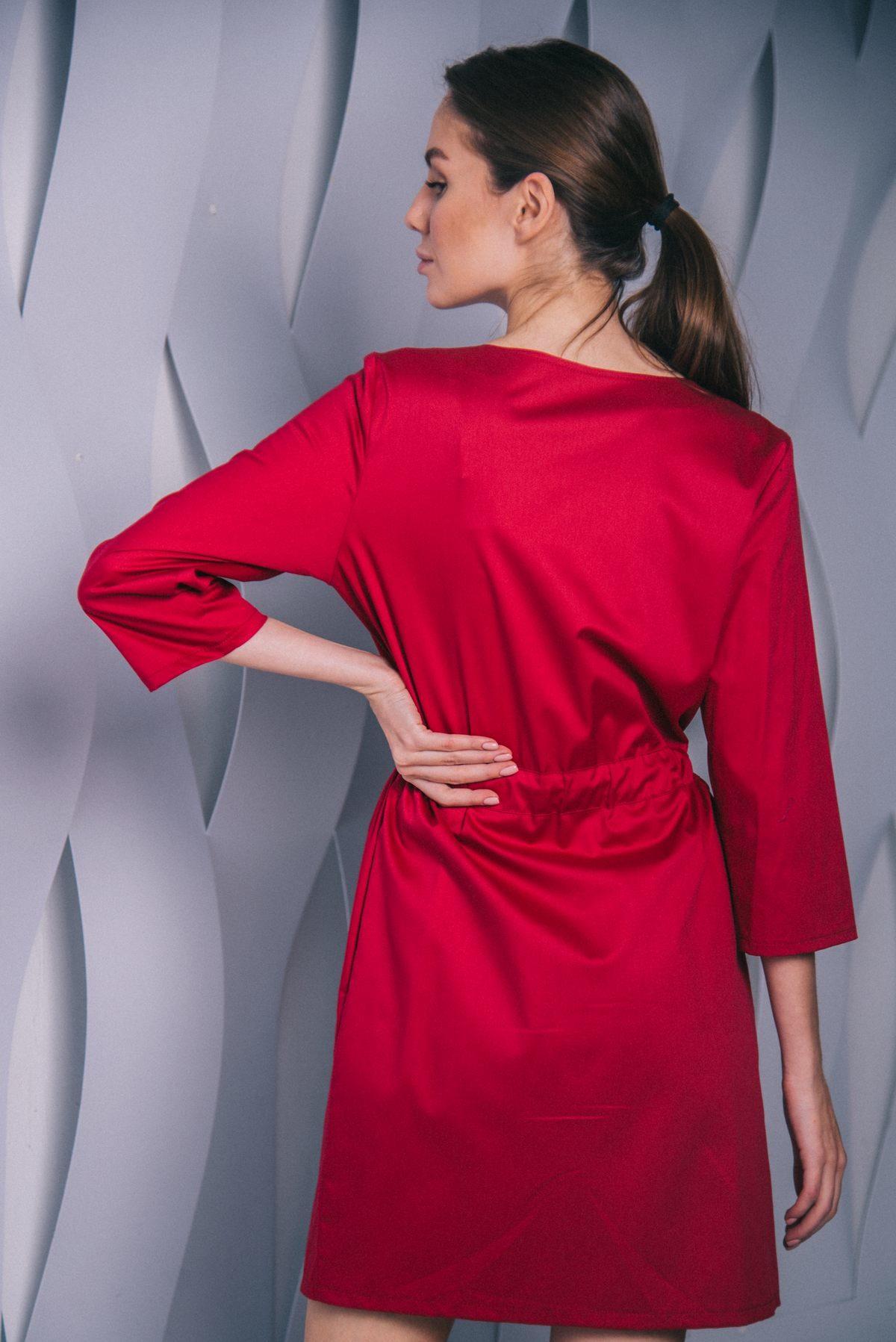 Платье с кулиской на кнопках бургунди пф042у 77ma.ru