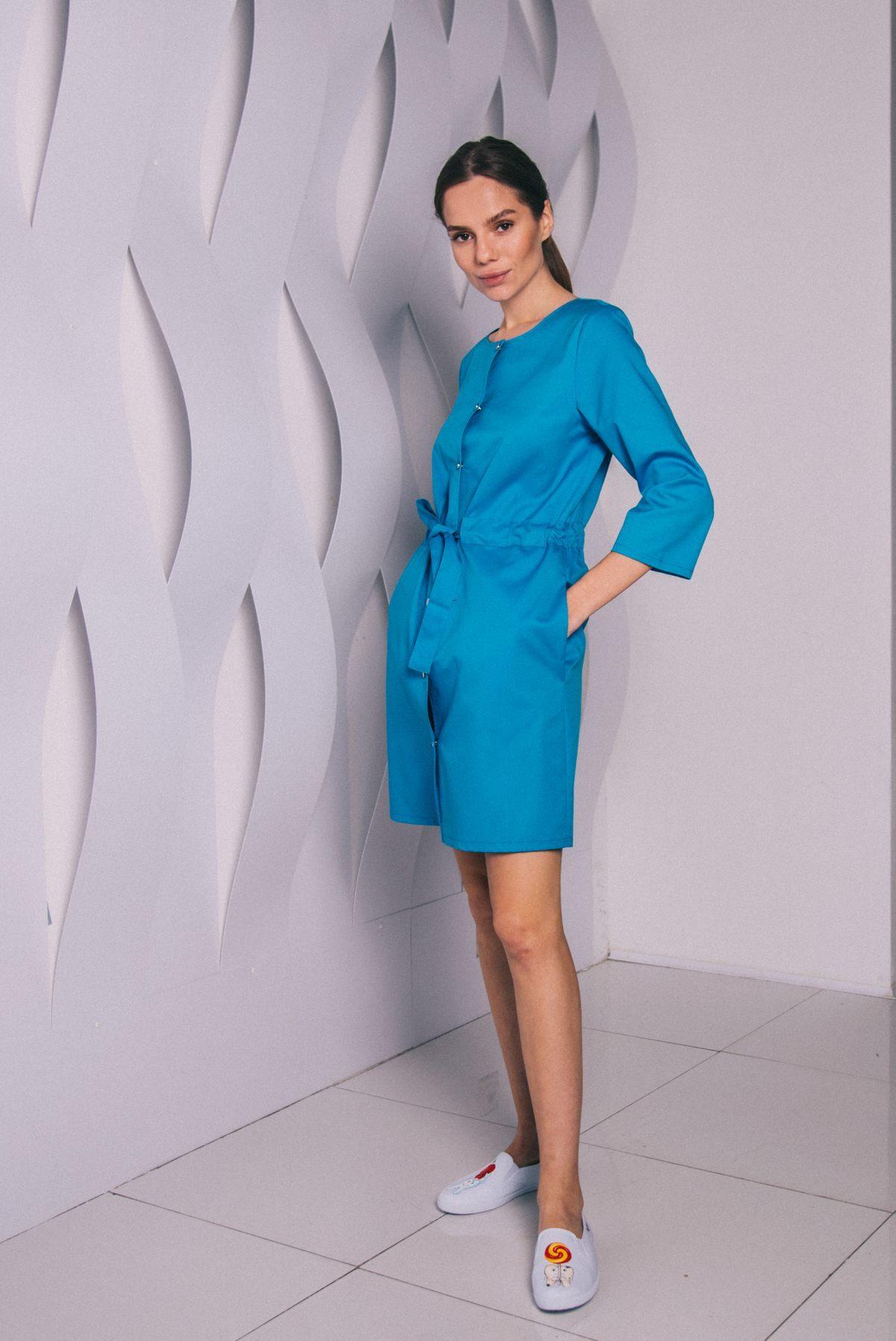 Платье с кулиской на кнопках голубое пф042г 77ma.ru