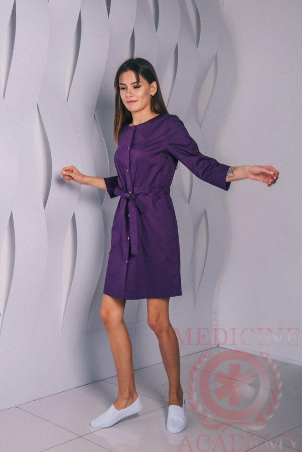 Платье с кулиской на кнопках лиловое пф042л 77ma.ru
