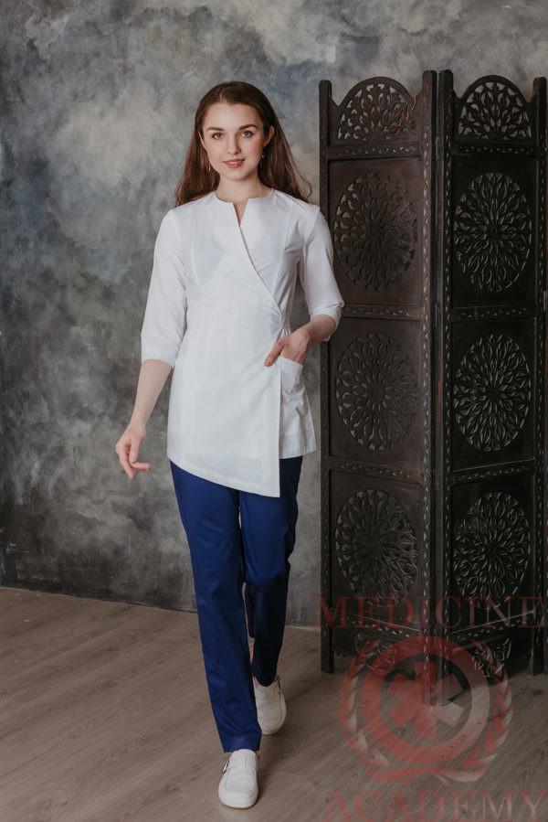 Блуза с запахом белая, асимметрия