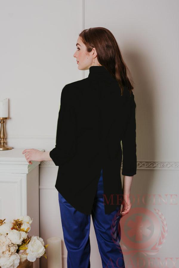 """Блуза """"ласточкин хвост"""" черная"""
