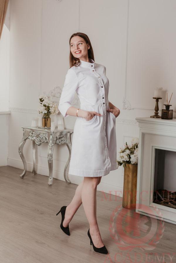 Медицинский халат с планкой белый 77ma.ru