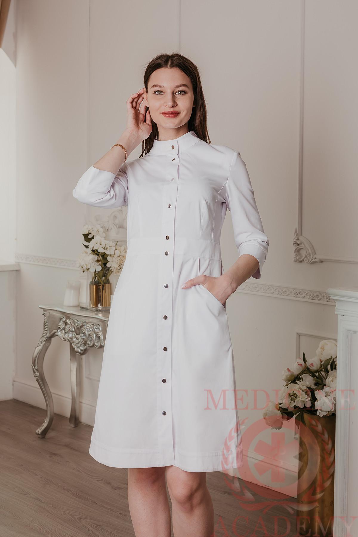 Медицинский халат с планкой белый