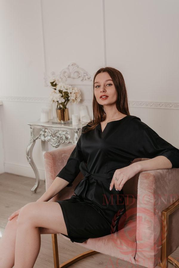 Платье с цельнокроенным рукавом черное 77ma.ru