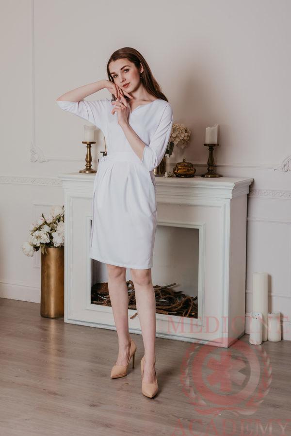 Платье с цельнокроенным рукавом белое 77ma.ru