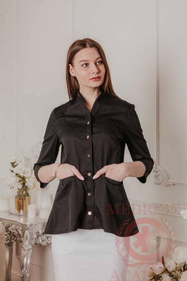 Медицинский жакет шалька с баской черный