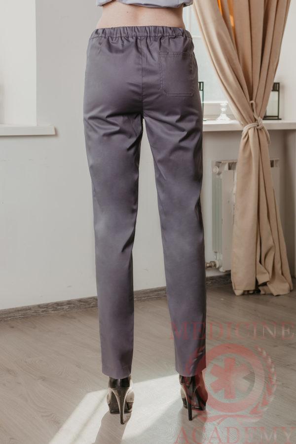 Медицинские брюки зауженные темно-серые