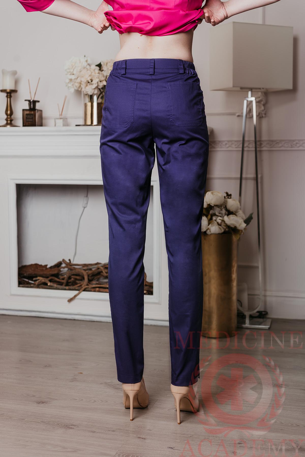 Медицинские брюки со стрелками синие