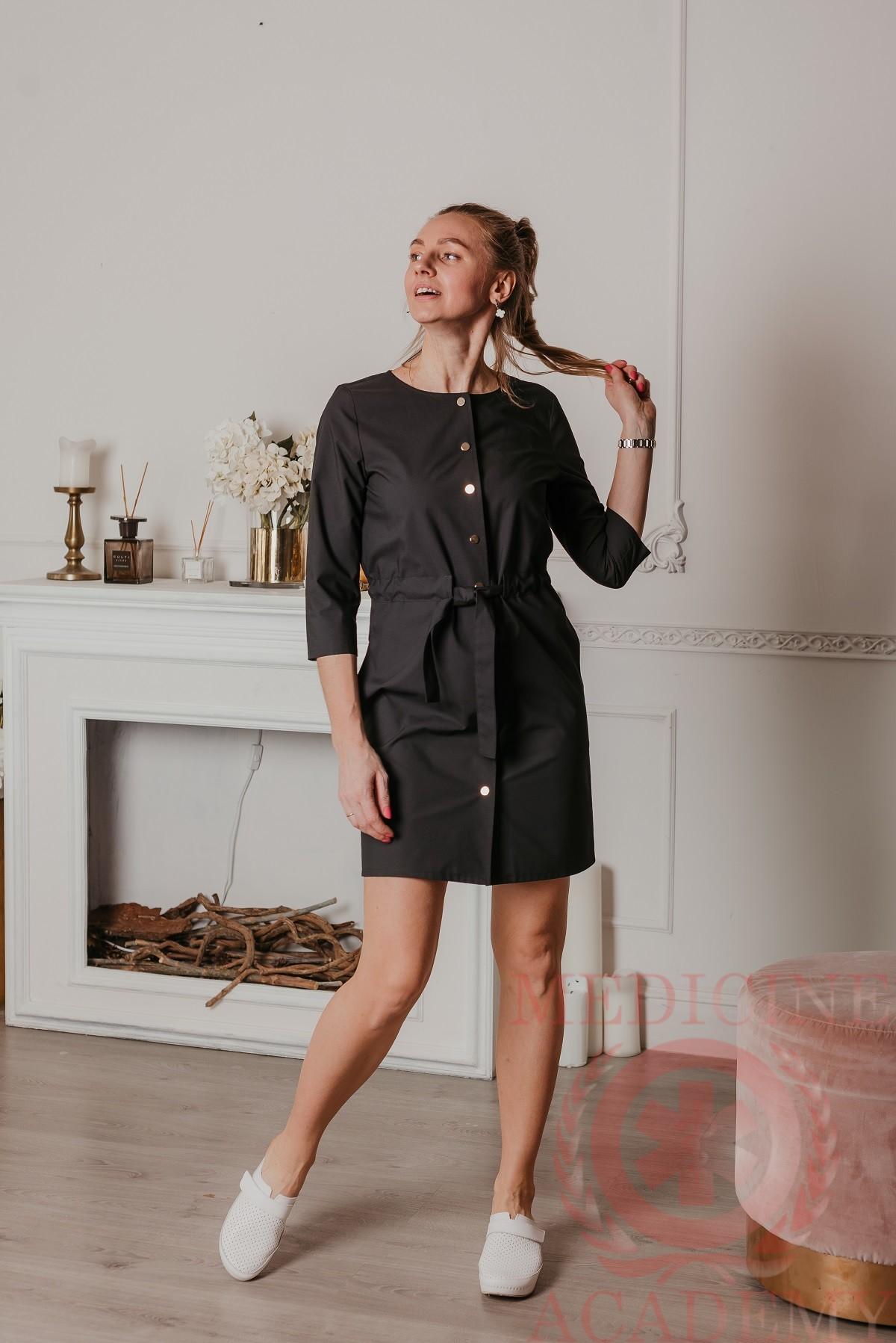 Платье с кулиской на кнопках черное